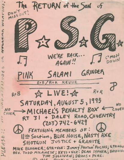 Click Here ot hear the LEGENDARY  Pink Salami Grinder LIVE at McNathans, Coventry, CT, 1990..(3.13mb)