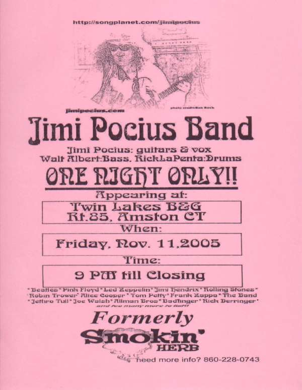 Jimi Pocius Band 1st Gig Pix...Click Here!!